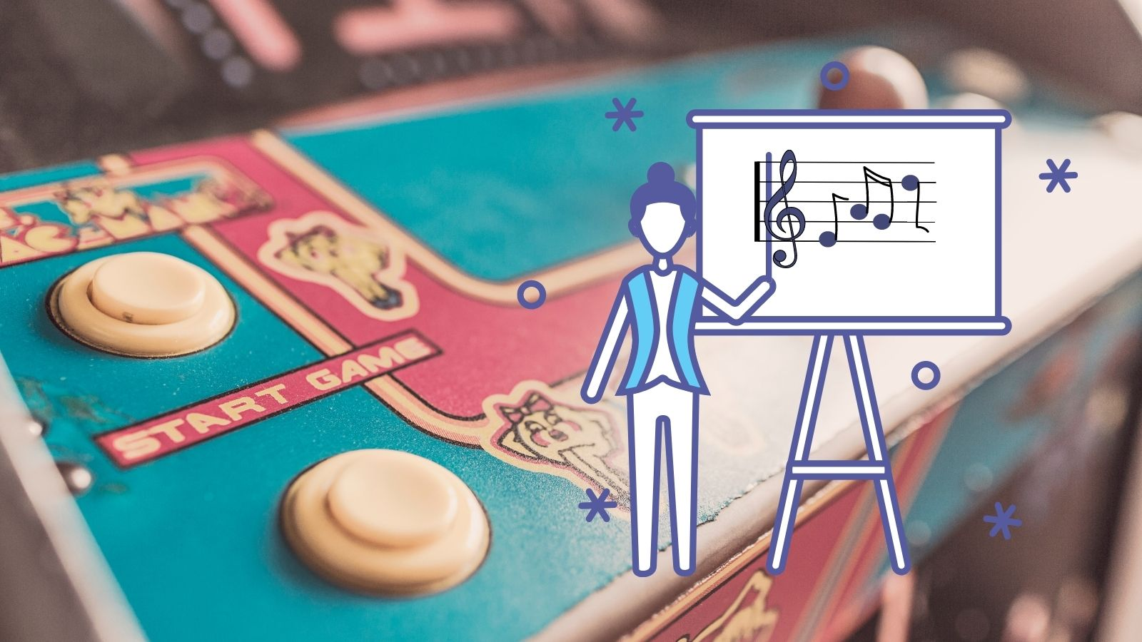 Composite of an arcade game machine and a music teacher