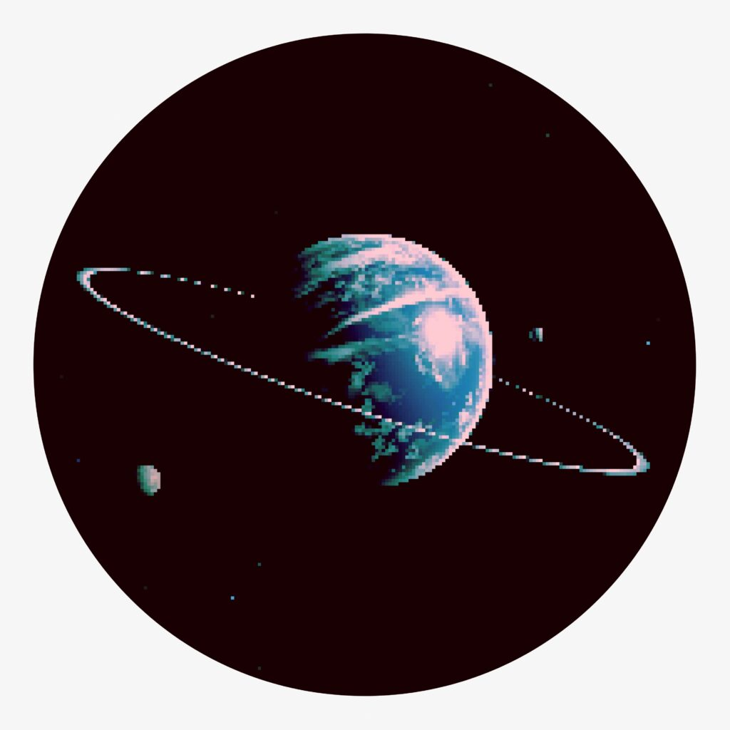 A pixelated planet in dark space with two moons in orbit