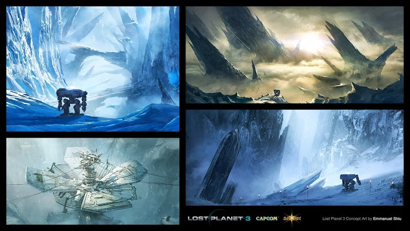 Concept drawings of a glacier filled planet